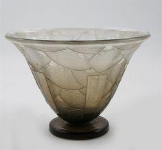 Art Deco Schneider smoked glass vase