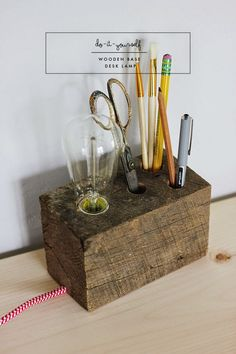 DIY | Wooden Base Desk Lamp - socket, cord covered wire, inline cord switch,