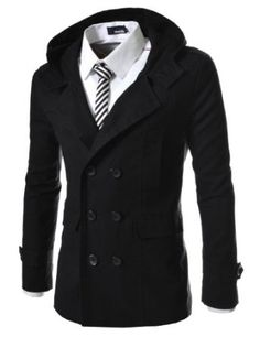 TheLees Mens casual double slim cotton hood trench coat