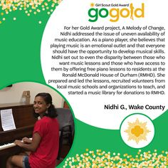 Major props Nidhi on earning her Girl Scout Gold Award! Following her belief that everyone should have the opportunity to develop musical skills, she offered free piano lessons and created a resource of materials for residents at the Ronald McDonald House of Durham. Way to share your passion for music, Girl Scout!