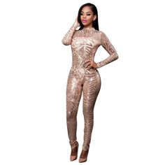 2b5f15e59d41 Womens Girls Sexy Long Sleeve Sequins See Through Romper Jumpsuit Long  Party Club Dress Rose Gold