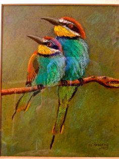 Done from a photograph I found in a magazine. I love the colors of these little birds.