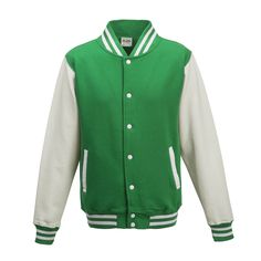 Just Hoods JH043 Kelly Green and Arctic White Varsity Jacket - £19.35