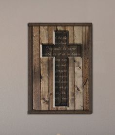 Wood Cross with Lord's Prayer from Reclaimed Wood