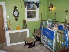 """Peter Pan themed nursery! My husband shoots down anything I say about the baby so this will be the first thing I pull the, """"I pushed a watermelon out of me..."""" for."""