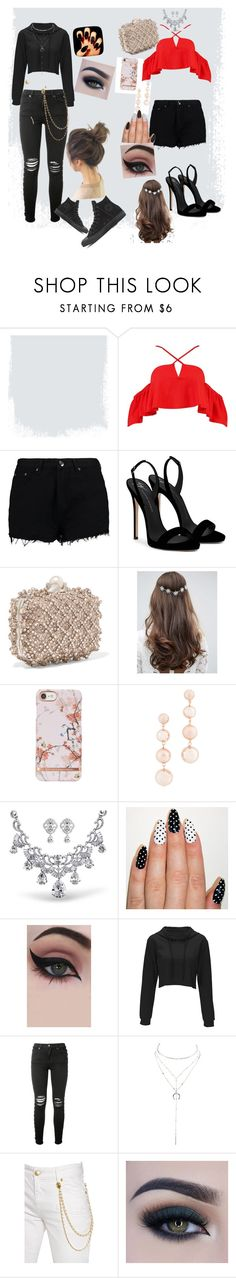 """night mare dressed as a day dream ~"" by galaxy-note-bunny ❤ liked on Polyvore featuring Boohoo, Giuseppe Zanotti, Jimmy Choo, ASOS, Rebecca Minkoff, Concrete Minerals, AMIRI, Charlotte Russe, Pierre Balmain and Too Faced Cosmetics"