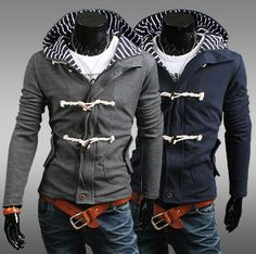 Men's Striped Hoodie Jacket with Horn Button not a fan of the horn buttons but I like the hood
