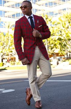 Red plaid blazer/ khakis