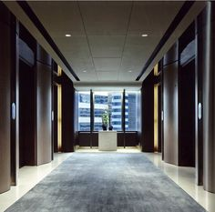Inset carpet Luxe detials by AB Concept Lobby Design, Hall Design, Lobby Interior, Interior Design, Ab Concept, Elevator Design, Hotel Corridor, Elevator Lobby, L Office