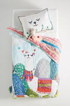 Slide View: Jane Newland Little Llama Kids Quilt Boy Room, Kids Room, Casa Kids, Childrens Beds, Textiles, Little Girl Rooms, Handmade Home Decor, Kid Spaces, Girls Bedroom