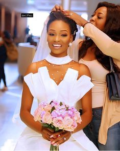 Finishing touches The dress is and then some Beautiful Wedding dress by aprilbykunbi. Crystal Wedding Dresses, Beautiful Wedding Gowns, Modest Wedding Dresses, Bridal Dresses, African Bridal Dress, African Dress, African Print Dress Designs, Sheath Wedding Gown, Bridal Outfits