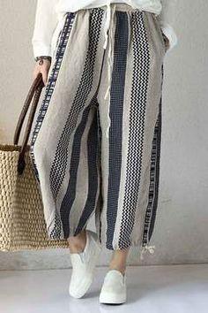Vintage Linen Casual Pants For Women Loose Trousers Q2007