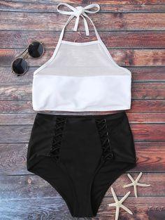 Halter Mesh Bikini and High Waist Bottoms - WHITE/BLACK XL