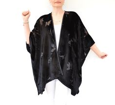 Black Velvet Kimono Silk Kimono Jacket Evening by DeliCatStudio