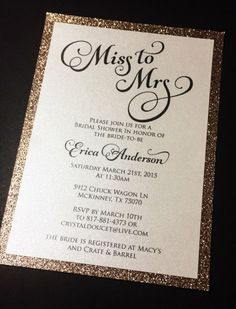 8f36d43a3f79 Invite your guests to your bridal shower in style with these real glitter  invitations. Purchase the quantity needed (minimum of 10) and then send  your ...