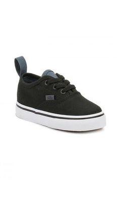 Vans Toddler Authentic Elastic Lace Shoes Black/White/Slate