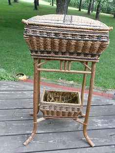 Sewing Basket Stand With Swing Handle - Heywood Wakefield