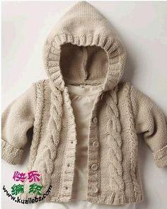 Вязаная детская куртка с капюшоном