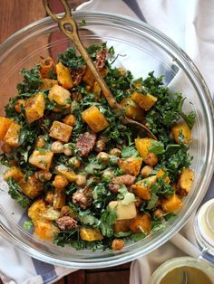 Kale Salad with Butternut Squash, Chickpeas, Candied Pecans and Tahini Dressing : Foodie Crush Veggie Recipes, Whole Food Recipes, Salad Recipes, Vegetarian Recipes, Cooking Recipes, Healthy Recipes, Healthy Salads, Healthy Eating, Kale Salads