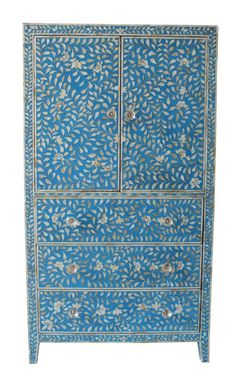 Blue Mother Of Pearl Cabinet -this would look fantastic in my bedroom snd gives me some great ideas.