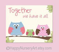 Art for Nursery. Baby girls nursery art by HappyNurseryArt on Etsy, $15.00