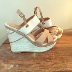 Chinese laundry wedges Chinese Laundry wedges. Size 8.5. Cream & nude color. Worn only once. Chinese Laundry Shoes Wedges