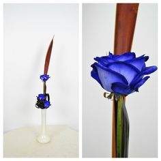 Ikebana arrangement with blue roses