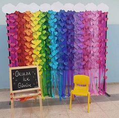 Betül - Home Decoration Ideas Rainbow Party Decorations, School Decorations, Birthday Party Decorations, Diy Toys Easy, Easy Diys For Kids, Rainbow Theme, Rainbow Birthday, Diy And Crafts, Paper Crafts