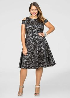Cold Shoulder Foil Skater Dress-Plus Size Dresses-Ashley Stewart Plus Size Cocktail Dresses, Plus Size Dresses, Plus Size Outfits, Fashionable Plus Size Clothing, Plus Size Fashion, Swimsuits For Big Thighs, Jeans For Big Thighs, Skater Dress, Dress Up