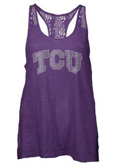 TCU Horned Frogs Womens Tank Top - Purple Horned Frogs Periwinkle Sleeveless Shirt