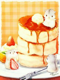 Anime hamster and food Cute Food Drawings, Cute Animal Drawings Kawaii, Kawaii Art, Hamster Wallpaper, K Wallpaper, Image Swag, Hyanna Natsu, Chibi Food, Food Sketch