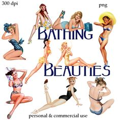 Clipart : Pin-up Girls Bathing Beauties numérique Png fichiers - n° 138