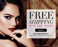 Limited Time Offer - Free Shipping with Any Direct Delivery Order when you shop at http://ieklund.avonrepresentative.com/ Use Coupon Code: SHIP2YOU! Expires: 10/28/14 at midnight