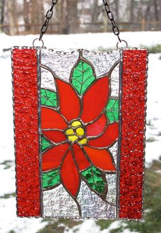 Stained Glass Suncatcher Poinsettia Panel by GLASSbits Stained Glass Ornaments, Stained Glass Christmas, Stained Glass Flowers, Faux Stained Glass, Stained Glass Panels, Stained Glass Projects, Fused Glass, Stained Glass Patterns Free, Stained Glass Designs