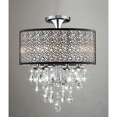 Bubble Shade Crystal and Chrome Flushmount Chandelier (overall 17 inches W x 21 inches H), Brown (Bronze)