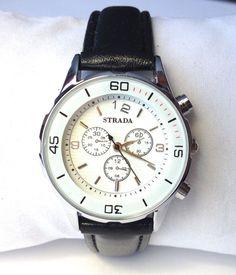 Women's Watch Japanese Quartz White textured dial / Black strap 32MM #Strada #Fashion