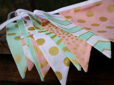 Mint, Pink, Metallic Gold Fabric Bunting Flag Banner, Garland Bunting.  Chevrons, Dots, Designer Fabrics, Weddings, Birthdays, Shower Decor....