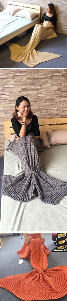 This Knitted Mermaid Tail Blanket is the perfect gift for any adults who loves mermaids or the sea! Slip inside, look and feel like a real mermaid! The lady who gets her hands on this will not want to