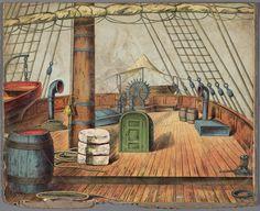 Decor voor een papieren theater voorstellende een schip en een Egyptisch gebouwhttp://www.geheugenvannederland.nl