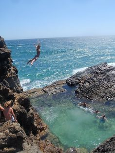 Cliff Diving!  Free spirit and the cheers of companions - 'Go for it'