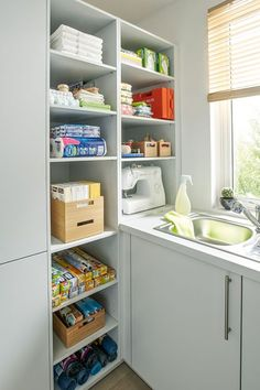 Utility Rooms by Schüller - Schuller by Artisan Interiors Small Utility Room, Utility Room Storage, Utility Room Designs, Small Laundry Rooms, Laundry Room Design, Room Shelves, Storage Shelves, Open Shelving, German Kitchen