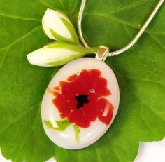 Red Poppy Fused Glass Pendant Necklace  by GreenhouseGlassworks, $20.00