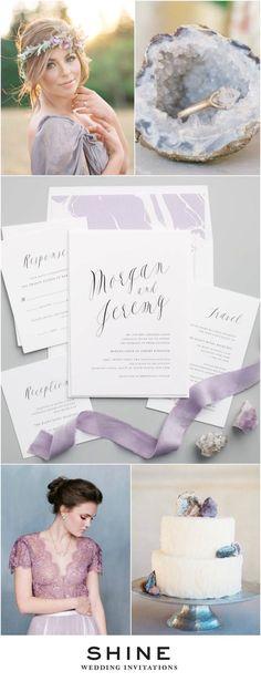 Purple Geode Wedding Inspiration   Ethereal Calligraphy Wedding Invitations   Modern Wedding