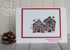 www.conibaer.de selbstgemachte Weihnachtskarte mit Lebkuchenhaus #basteln / handmade christmas card with gingerbread houses #papercrafts