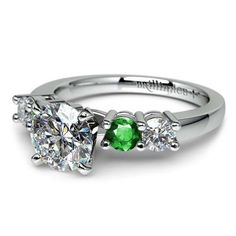 Love gorgeous green emeralds and sparkling diamonds together? Discover the ideal ring for 2013's fashionable beauty: The Round Diamond and Emerald Gemstone Engagement Ring in sleek Platinum! www.brilliance.com