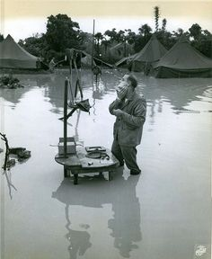 [Photo] US Marine Staff Sergeant A S. Barnacle shaving in his camp on Okinawa, Japan, ignoring the heavy flooding due to rain, 28 May 1945 History Online, World History, World War Ii, Family History, Military Photos, Military History, Military Humor, My Funny Valentine, Staff Sergeant