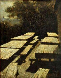 """Mario De Maria, """"Luna sulle tavole di un'osteria"""". Olio su tela, cm 40 x 31. Datazione,1884. Galleria D'Arte Moderna, Roma."""