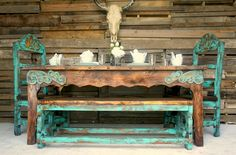 Vintage Antique Agave Dinning Table for 6 - Sofia's Rustic Furniture Western Furniture, Country Furniture, Distressed Furniture, Antique Furniture, Rustic Bench, Rustic Decor, Vintage Decor, Paint Furniture, Furniture Makeover