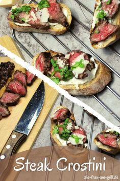 Jeder von euch kennt Bruschetta, oder? Aber auch die Variante, die mit feinstem, saftigem Steak-Fleisch belegt wird? Jene Bruschetta-Variante, die man auch Steak Crostini nennt? Noch nicht ausprobiert? Dann ab in die Küche oder an den Grill! Super Party Rezept aus der mediterranen Küche. Fingerfood deluxe! #newyorkstrips #entrecote #ribeye #crostini #mediterran #baguette #bruschetta #italien #steak #steaklover #steaks #kochen #lecker #rezepte #rezeptideen #grillen #bbq #foodpics