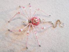 Emma pink and white glass beaded spider door MossandStoneStudio